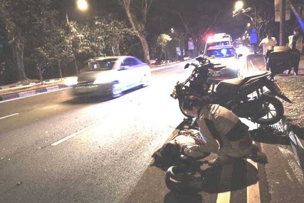 Polis berkata pihaknya dimaklumkan tentang kejadian pada Sabtu malam yang melibatkan sebuah motosikal di Upper Thomson Road menuju ke Thomson Road. - Foto ROADS.SG/FACEBOOK