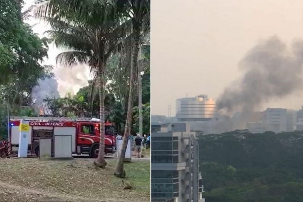 Video kejadian kebakaran yang dihantar ke lelaman Stomp menunjukkan asap yang meluap dari tempat kejadian. - Foto STOMP