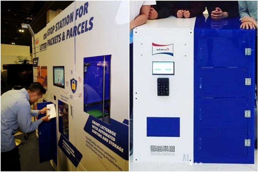 """(gambar kiri) : Prototaip kotak surat bijak SingPost. (gambar kanan): Foto yang disiarkan dalam pos LinkedIn oleh pelajar Universiti Teknologi dan Rekaan Singapura, Encik Jerry Neo menunjukkan mesin yang digambarkan sebagai """"peti mel auto"""" .Foto: KEVIN LIM, JERRYMEOWS / INSTAGRAM"""