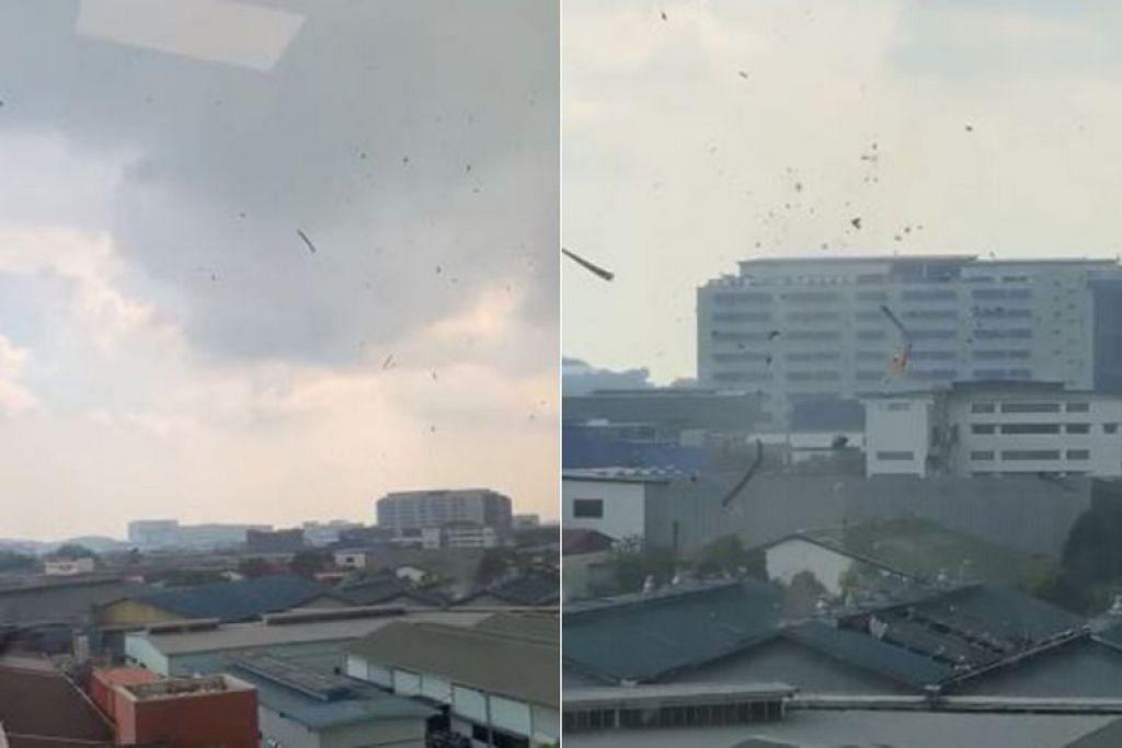Menurut Khidmat Meteorologi Singapura (MSS) Agensi Sekitaran Kebangsaan (NEA), putaran angin disebabkan ribut petir yang berlaku apabila atmosfera berada dalam keadaan tidak stabil. - Foto SG KAY POH/FACEBOOK
