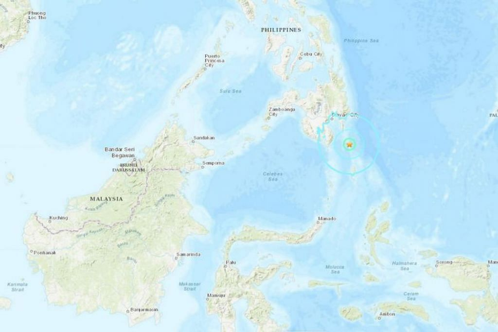 Gempa bumi berlaku di wilayah Davao Occidental di selatan Filipina pada 10.02 pagi waktu tempatan pagi tadi. - Foto USGS