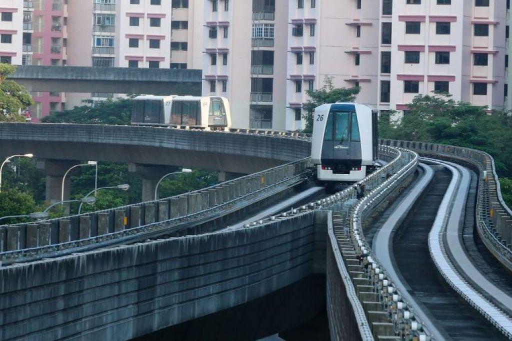 Gangguan laluan LRT Sengkang disebabkan kerosakan sistem. - Foto fail ST