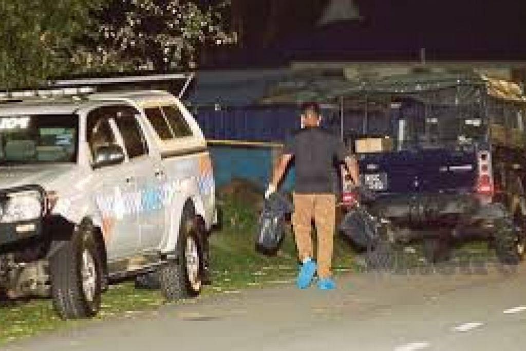 Polis forensik menyiasat insiden di Kampung Ladang, Krubong.
