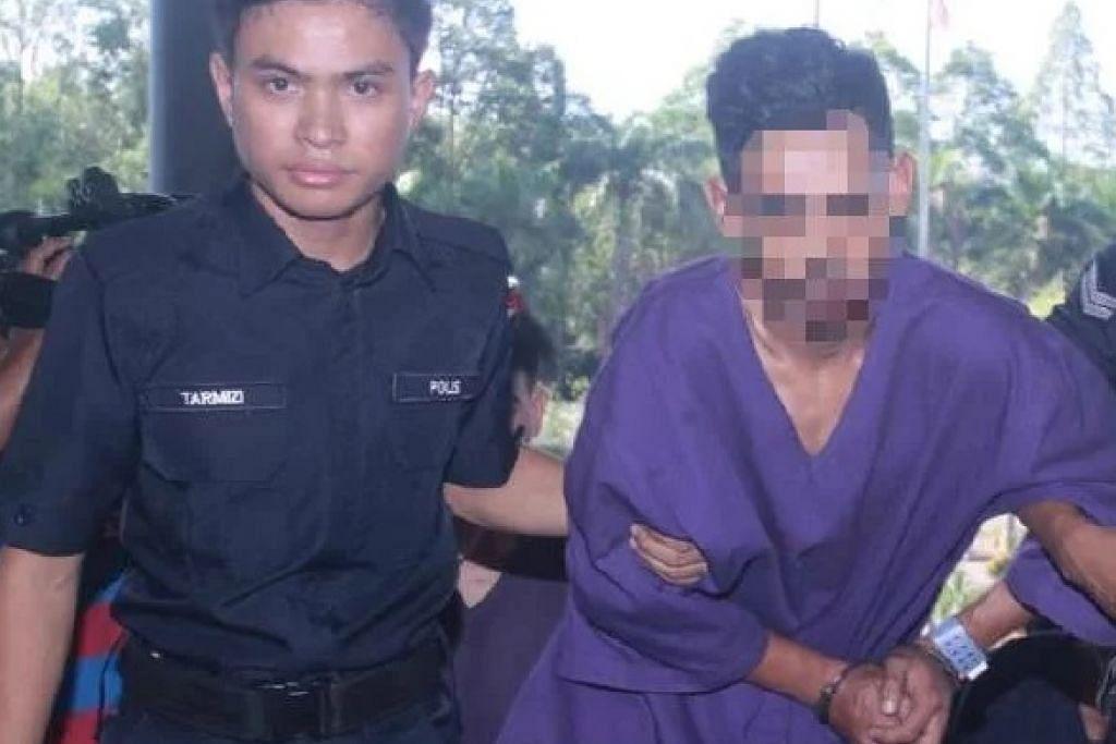 WARGA SINGAPURA DIREMAN: Seorang lelaki warga Singapura (kanan) ditahan reman Polis Malaysia kerana disyaki terbabit dalam kes pembunuhan kejam di Kampung Ladang, Krubong, di Melaka, di mana sebuat mayat ditemui dikerat sekurang-kurangnya lapan bahagian pada Khamis (10 Oktober). -Foto MyMetro.