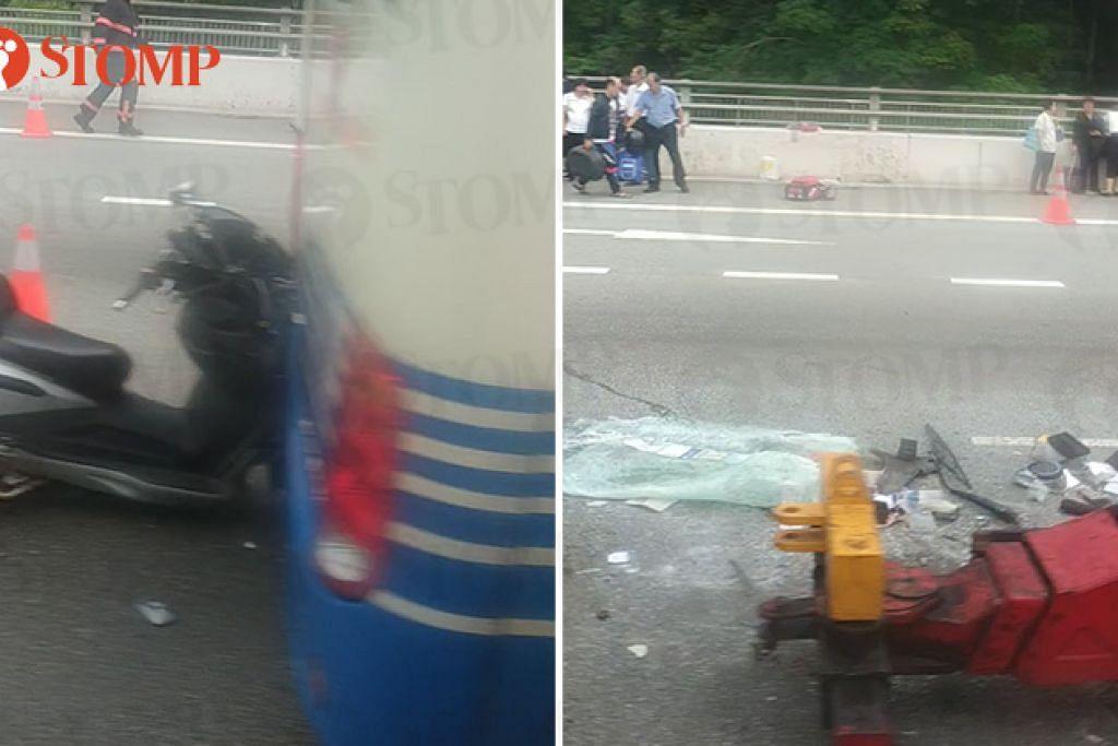 Dalam video yang dihantar ke Stomp, sebuah motosikal kelihatan terkena belakang sebuah bas. Polis sedang menyiasat kejadian ini. - Foto STOMP