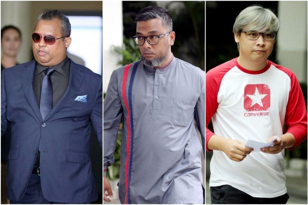 (Dari kiri) Staf Sarjan Abdul Rahman Kadir, Staf Sarjan Mohamed Hafiz Lan, dan Sarjan Muhammad Zuhairi Zainuri masing-masing didakwa pada Jumaat, atas satu tuduhan menghalang proses keadlian dengan sengaja. -Foto BH oleh WONG KWAI CHOW.
