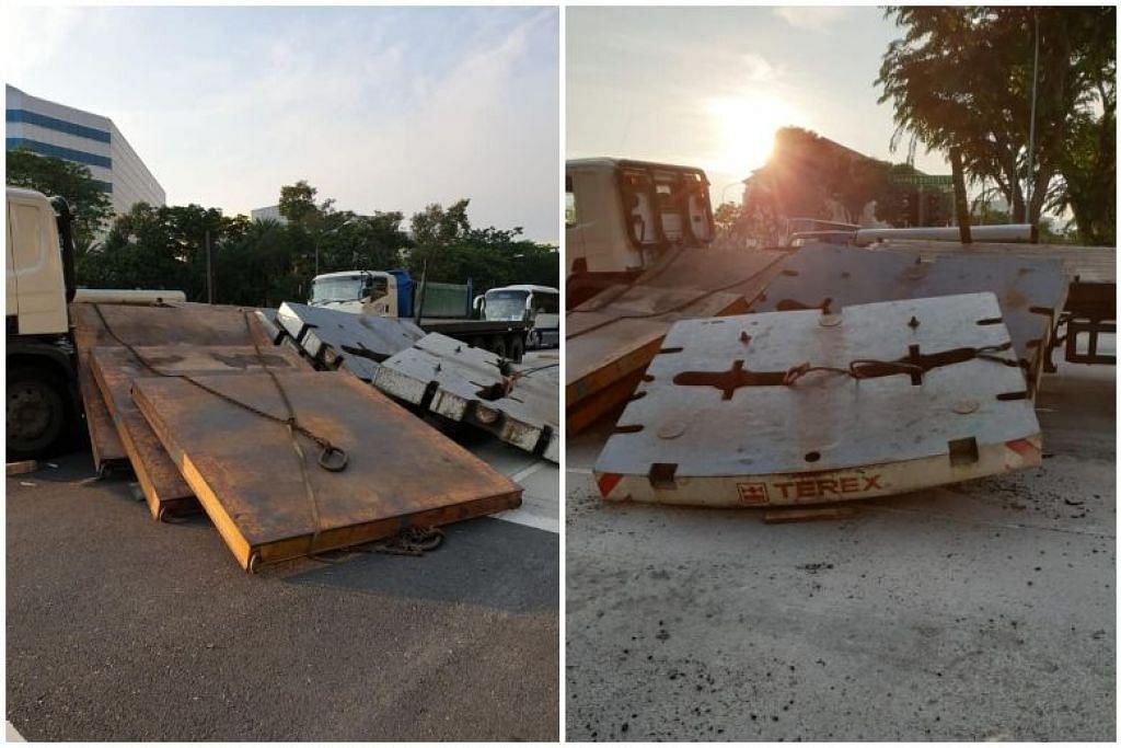 TRAFIK DISEKAT: Gambar selepas kejadian menunjukkan lima kepingan konkrit telah jatuh daripada treler dan menghalang laluan jalan raya di sebelah. - Foto ROAD.SG/FACEBOOK