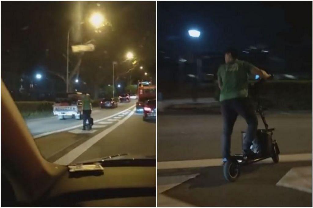 Dalam video itu, penunggang PMD kelihatan memeriksa trafik sebelum menyeberang ke arah Kallang Park Connector. - Foto Gambar tangkap KURT GUO/FACEBOOK