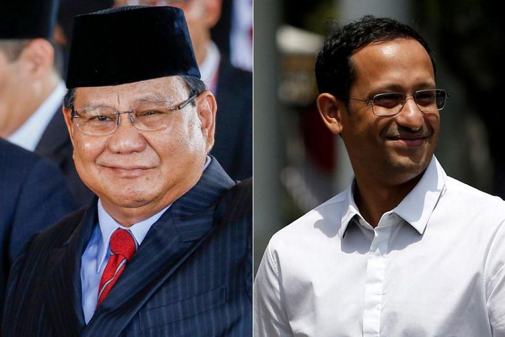 Pemimpin pembangkang Indonesia, Encik Prabowo Subianto (kiri) dan CEO Gojek Encik Nadiem Makarim  akan menyertai kabinet baru Indonesia di bawah kepimpinan Presiden Joko Widodo.