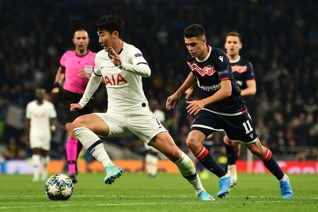 PEMAIN BERBAHAYA: Pemain sayap Spurs, Son Heung Min (jersi putih) menyebabkan banyak masalah kepada benteng pertahanan Red Star dalam kemenangan 5-0 di mana beliau berjaya menjaringkan dua gol. - Foto AFP