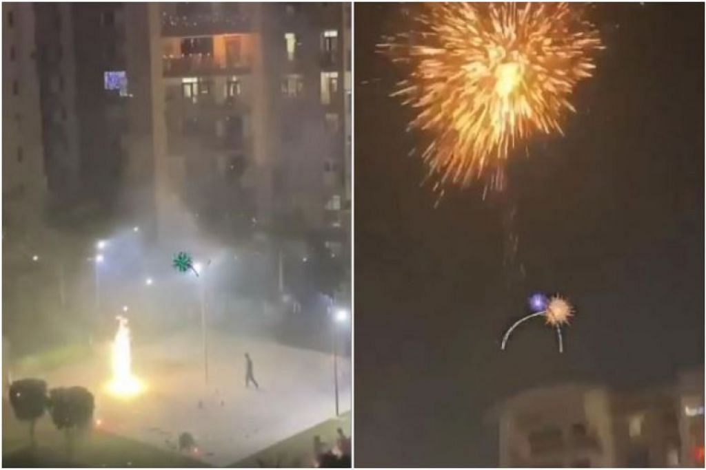 Dalam video di Facebook, bunga api kelihatan mencapai setinggi flat 12 tingkat yang berdekatan. - Foto ALL SINGAPORE STUFF/FACEBOOK