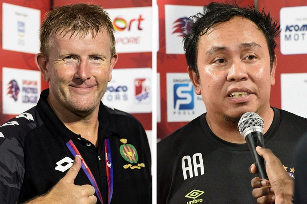 BERENTAP: Jurulatih Brunei DPMM Adrian Pennock (kiri) dan Jurulatih Warriors Azlan Alipah. – Foto-foto fail