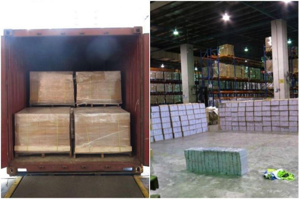 Pegawai Kastam Singapura menjumpai sebanyak 10,800 karton rokok tanpa cukai di dalam kontena di sebuah bangunan perindustrian di Sunview Road berdekatan Boon Lay. - Foto KASTAM SINGAPURA