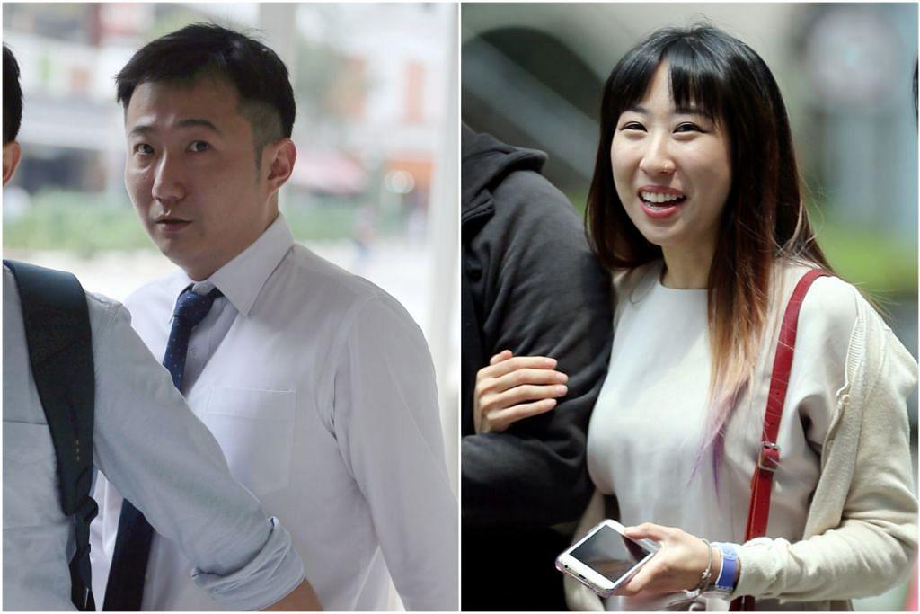 Clarence Teo (kiri) didakwa menyebabkan kesakitan terhadap Cik Rachel Lim (kanan) di flatnya di Redhill pada 27 Ogos 2017. - Foto ST oleh WONG KWAI CHOW