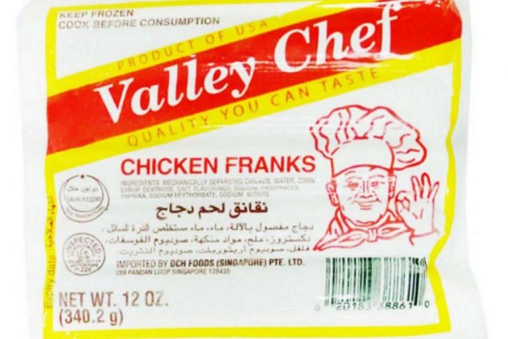 Sosej ayam ini  jenama Valley Chef dari Amerika Syarikat ini dijual di pasar raya setempat.