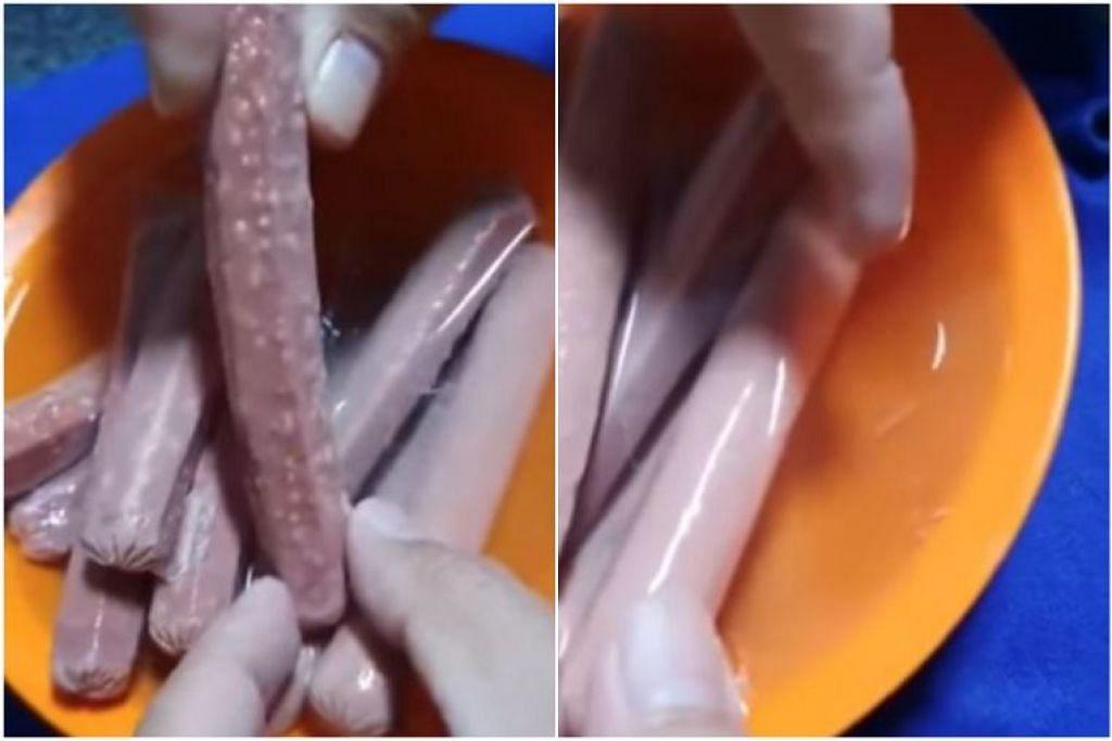 Dalam video yang dimuatkan, cacing putih dapat dilihat setelah sosej direndam dalam air.