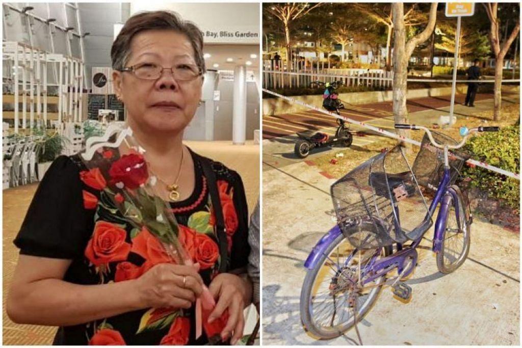 Cik Ong Bee Eng sedang mengayuh basikal pulang ke rumah di Chai Chee Street sekitar 10 malam pada 21 September 2019 apabila kemalangan itu berlaku. - Foto ihsan KELUARGA CIK ONG, SHIN MIN DAILY NEWS