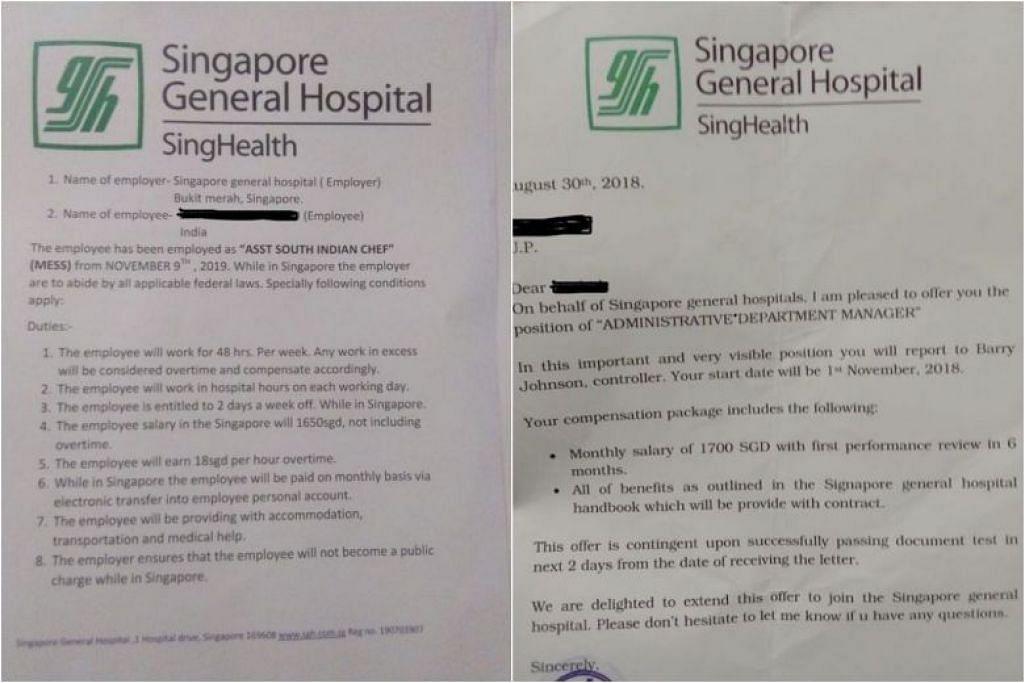 Surat kerja palsu tidak ditandatangani dan kurang butiran penerima. - Foto HOSPITAL BESAR SINGAPURA/FACEBOOK