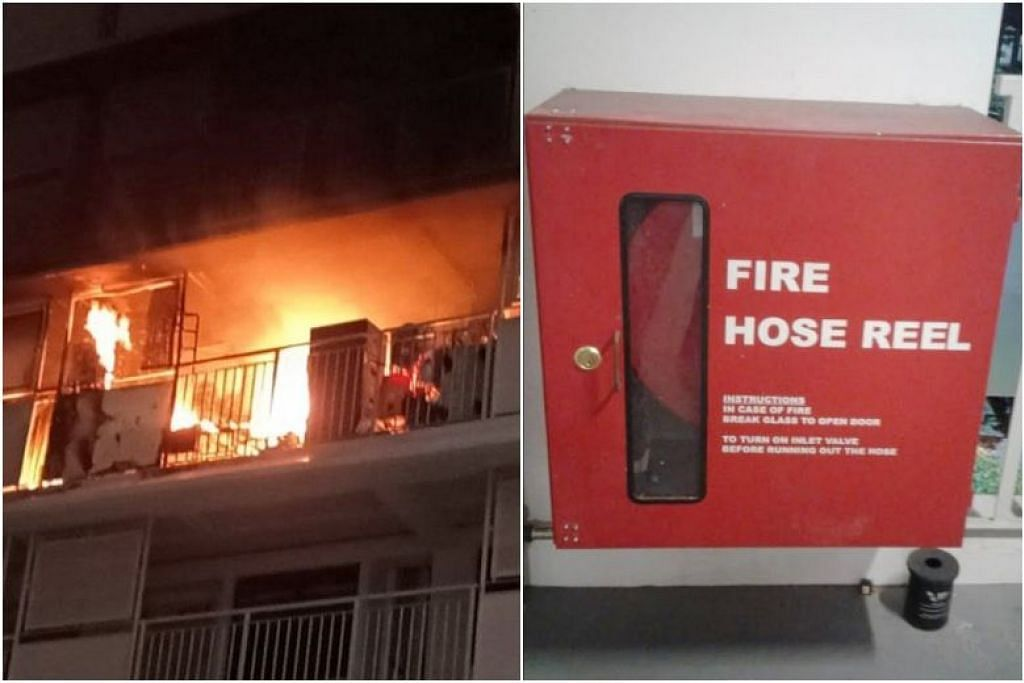 Pegawai bomba memadamkan api di Blok 210A Bukit Batok Street 21 pada 1 November mendapati mereka tidak boleh menggunakan hos kerana kabinet dikunci. - Foto SHIN MIN DAILY NEWS
