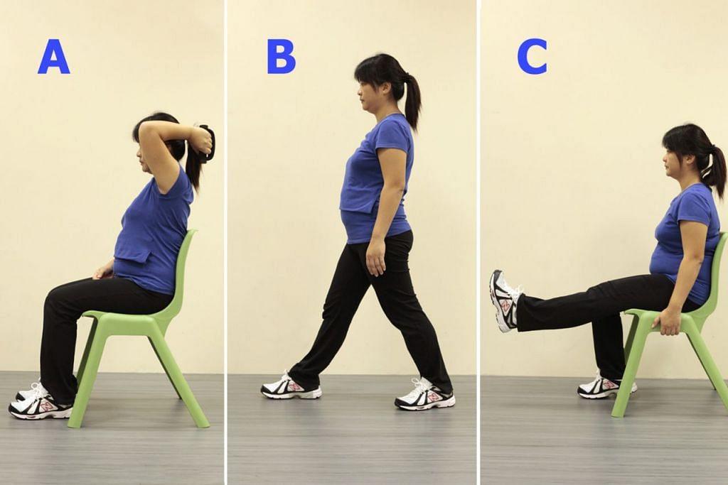 A. 'BACK-BEND': Senaman untuk mengukuhkan otot tricep. B. 'LUNGES': Lunges semasa berdiri boleh dilakukan untuk mengukuhkan otot punggung. C. 'LEG LIFTS': Senaman kaki boleh dilakukan untuk mengukuhkan otot betis.
