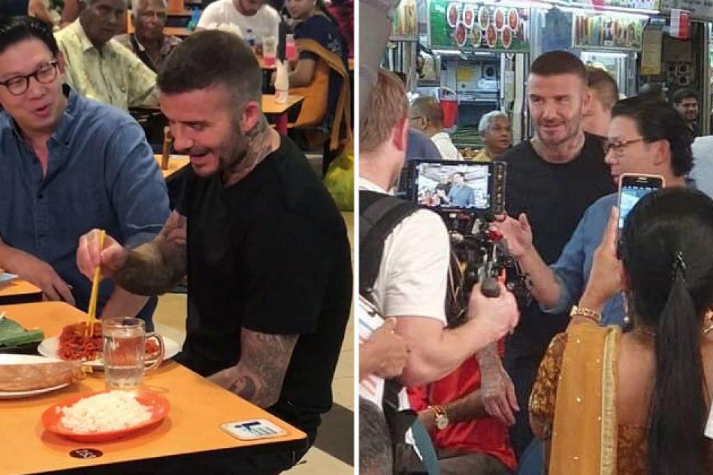David Beckham kelihatan menikmati juadah tempatan di Pasar Tekka - Foto TWITTER