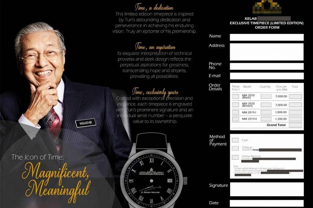 Risalah yang menunjukkan jam tangan mewah yang sepatutnya ditandatangani Dr Mahathir. - Foto THE STAR ONLINE