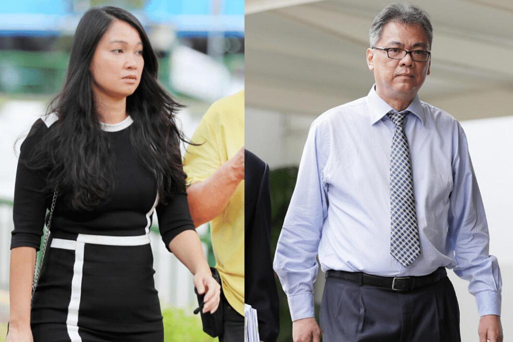 Lousie Pei Hsien (kiri) berkomplot bersama Cheng Choong Hung (kanan) untuk menipu NTU sebanyak $191,000. - Foto-foto fail