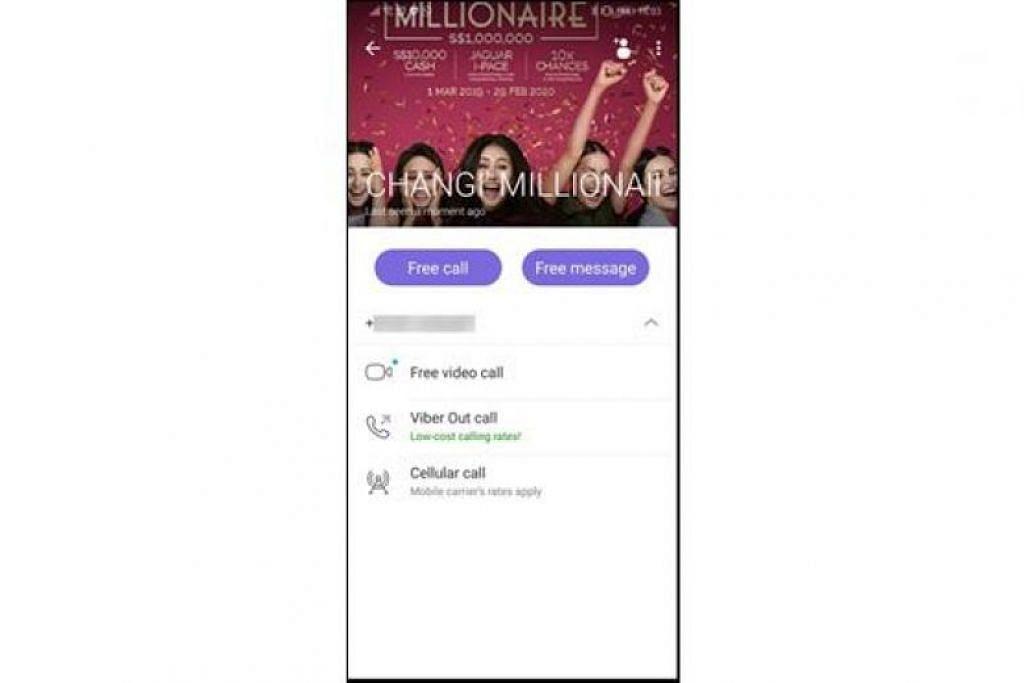 Pelaku menghubungi mangsa menerusi aplikasi Viber dengan gambar yang menunjukkan iklan 'Be A Changi Millionaire'. - Foto KUMPULAN CHANGI AIRPORT