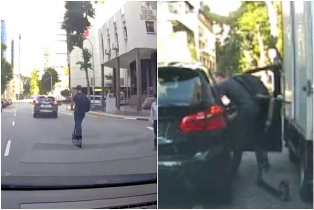 Pertengkaran antara pengguna PMD dan pemandu kereta di Enggor Street terakam dalam video yang dimuat naik di Facebook. FOTO: TANGKAP LAYAR YOUTUBE/SGROADVIGILANTE