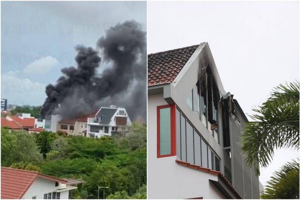 Kepulan asap dilihat dari bumbung rumah yang terbakar kelmarin. FOTO: LIANHE WANBAO, LIANHE ZAOBAO