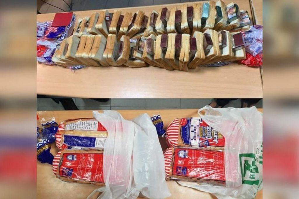Rokok haram yang disembunyikan dalam kepingan roti yang dijumpai pegawai ICA di Pusat Pemeriksaan Woodlands. FOTO: FACEBOOK/ ICA