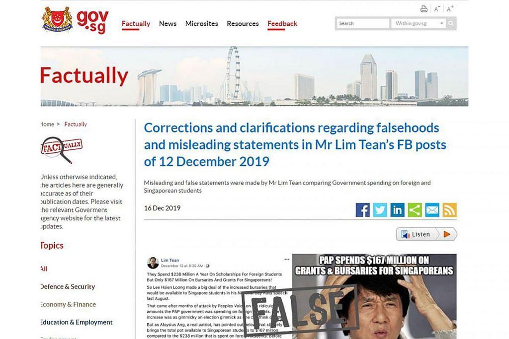 NOTIS PEMBETULAN: Arahan pembetulan yang memerlukan Encik Lim Tean menyiarkan sepenuhnya notis pembetulan di bahagian atas kedua-dua pos Facebook beliau. - Foto LIMTEAN/YOUTUBE, GOV.SG