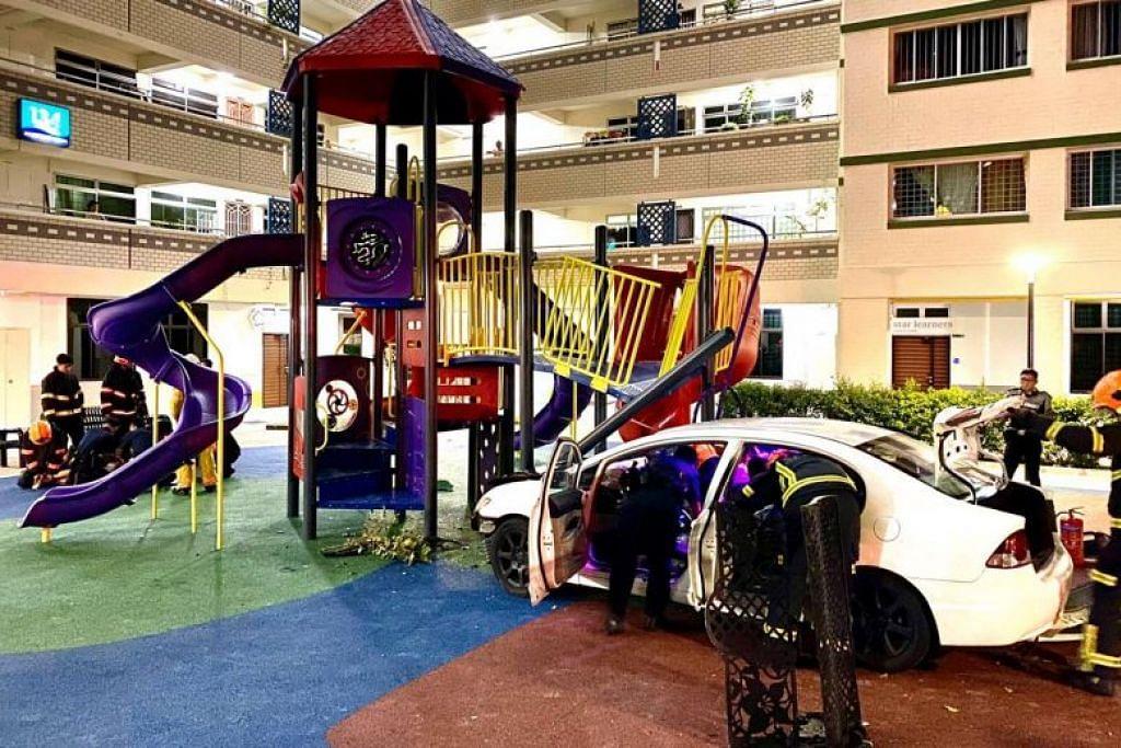 Pemandu yang telah merempuh keretanya ke sebuah taman permainan di Jalan Bukit Merah telah ditangkap. FOTO: MERVIN LOW