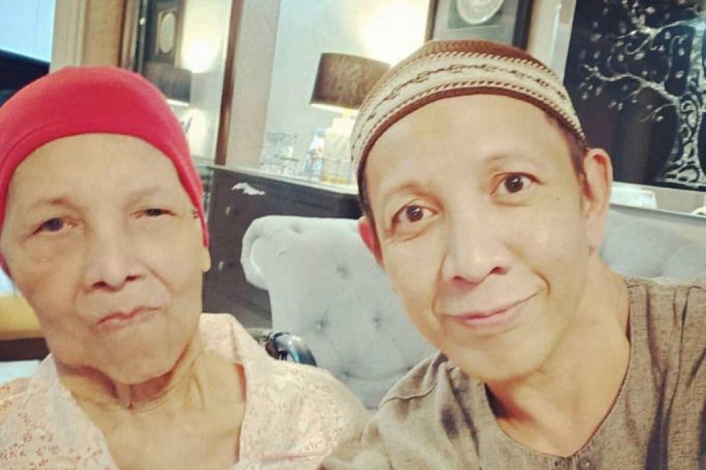 KEHILANGAN IBU TERCINTA: Roslan Shah (kanan) bergegas pulang dari Shah Alam ke Singapura semalam selepas mendapat berita ibunya, Cik Mariam Kari meninggal dunia kerana penyakit barah perut. - Foto INSTAGRAM ROSLAN SHAH