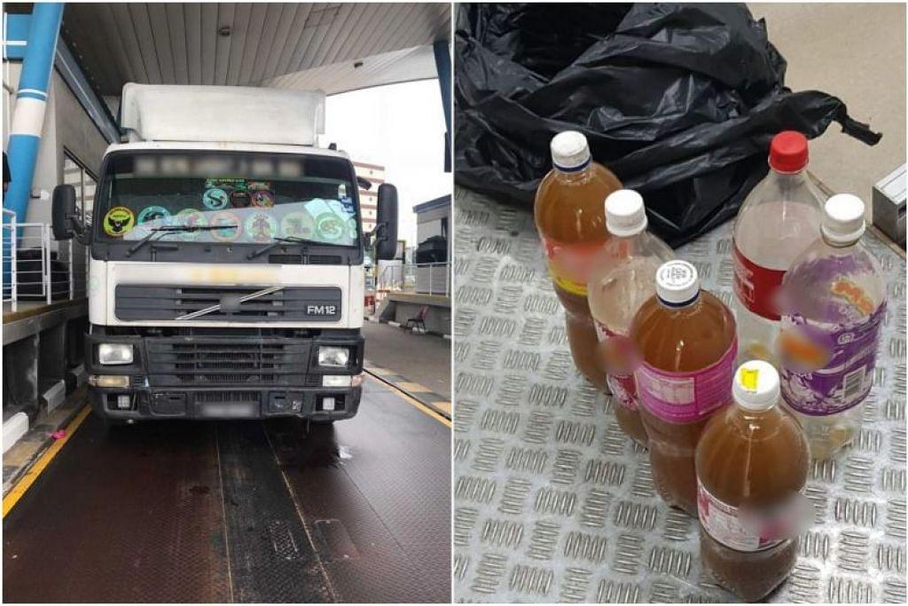 Beberapa botol cecair berwarna coklat yang dipercayai mengandungi dadah (gambar kanan) ditemui di dalam lori berdaftar Malaysia di Jurong Port. FOTO: FACEBOOK/ ICA