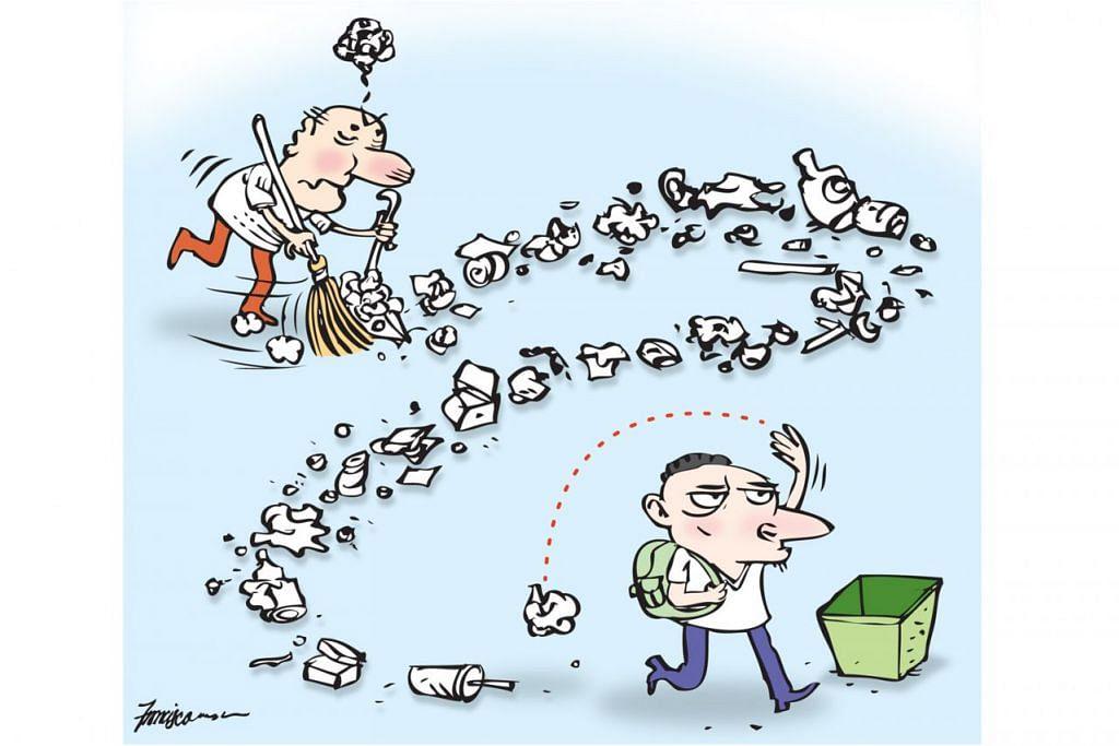 CABARAN UTAMA: Ujian pertama bagi rakyat Singapura atasi adalah untuk berhenti membuang sampah sembarangan. – Grafik BH oleh MANNY FRANCISCO