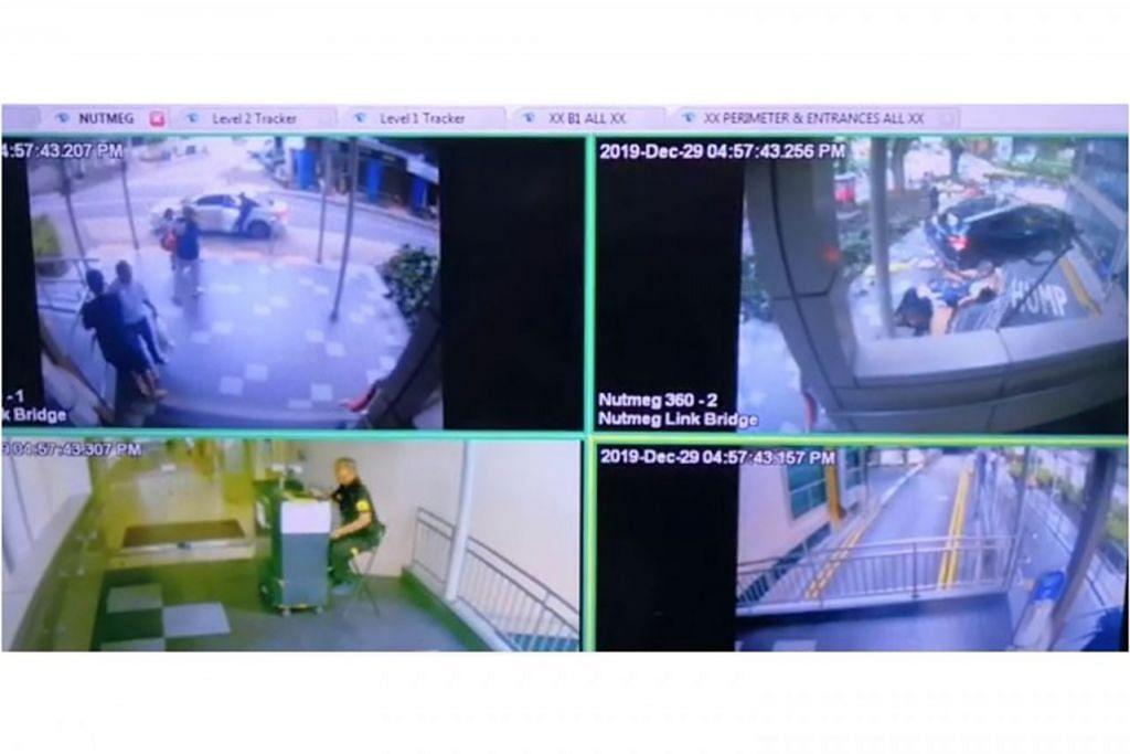RAKAMAN DETIK KEMALANGAN: Rakaman kamera litar tertutup (CCTV) yang menunjukkan kejadian kemalangan di Lucky Plaza kelmarin. - Foto PEMBACA