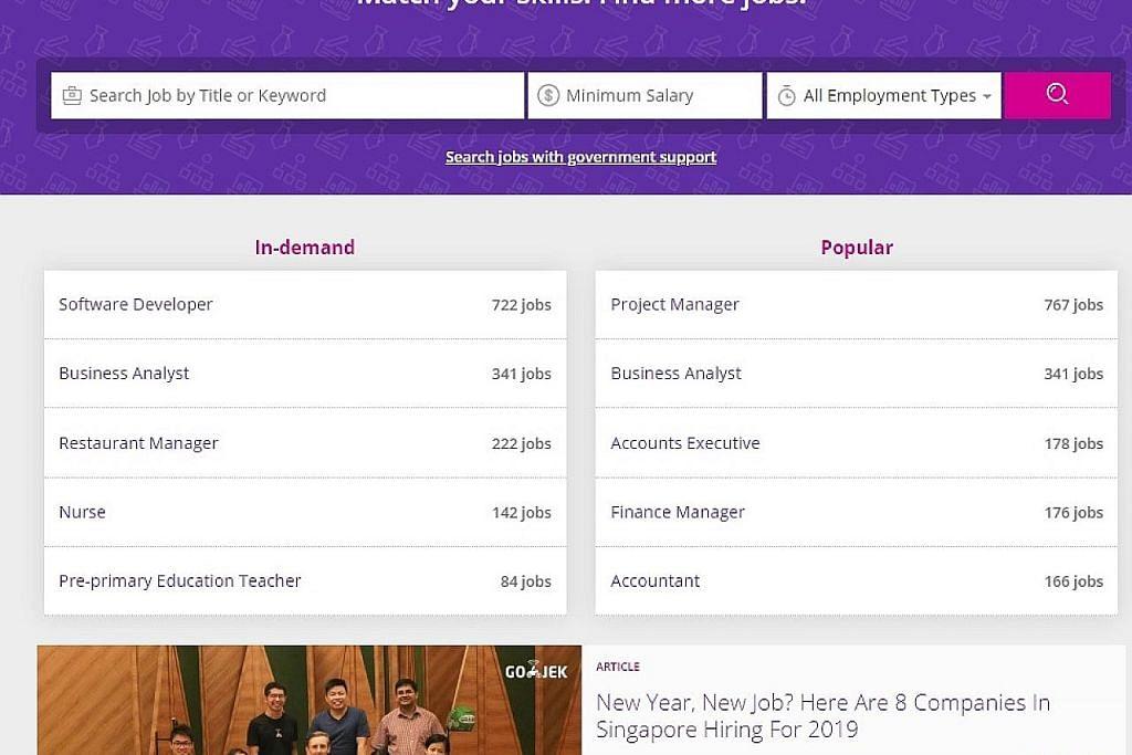 Laman MyCareersFuture.sg siarkan lebih banyak pekerjaan