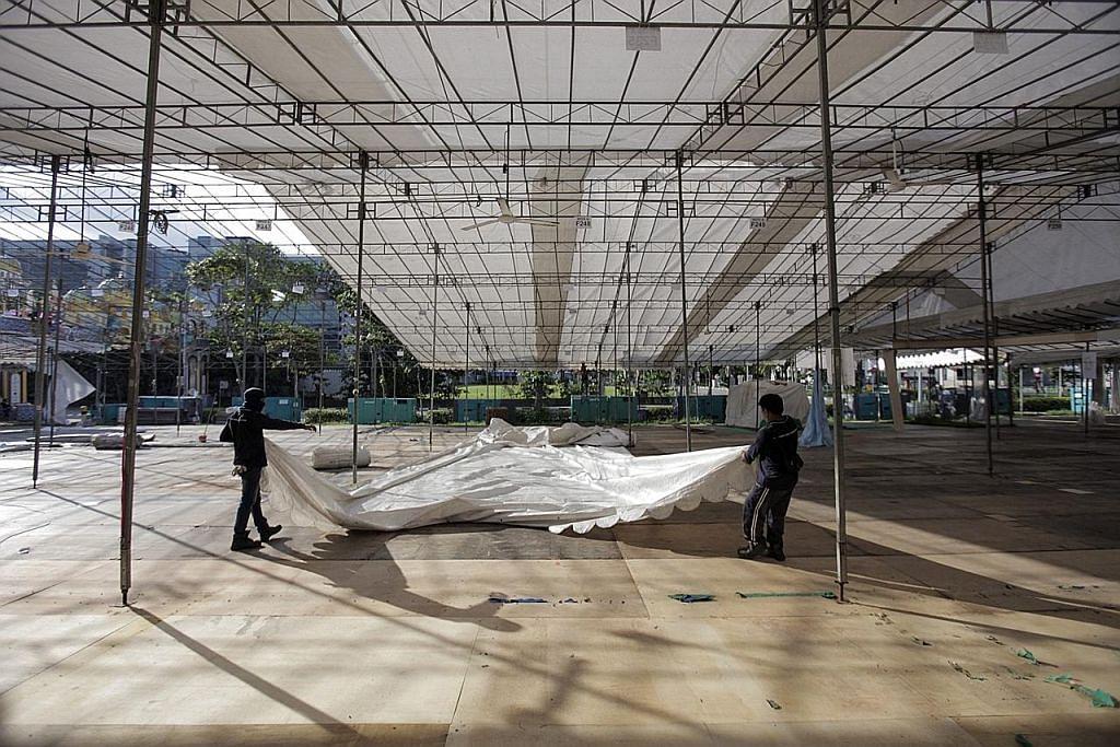 Kerja pembersihan bazar Geylang giat dijalankan