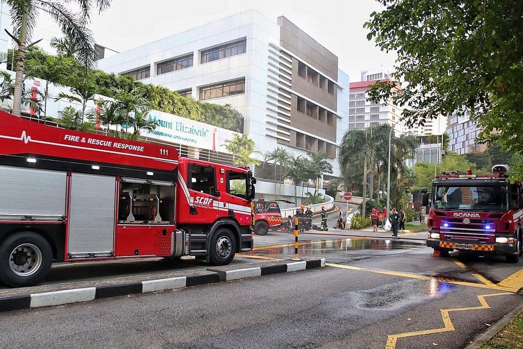 60 orang terpaksa dipindahkan dalam kebakaran di Hospital Mount Elizabeth