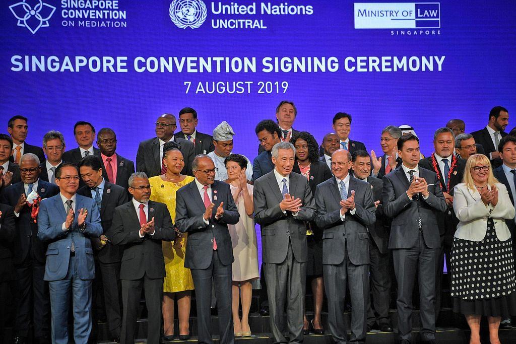 46 negara tandatangani Konvensyen S'pura mengenai pengantaraan ACARA MENANDATANGANI KONVENSYEN SINGAPURA