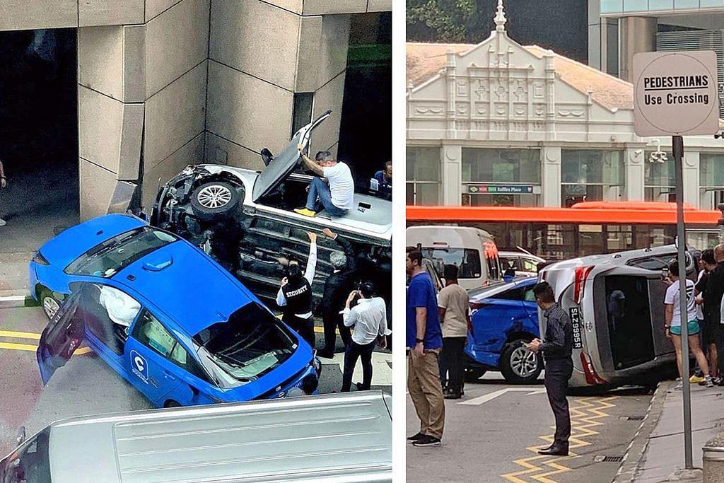 Teksi, kereta tercampak di depan AIA Tower dalam kemalangan