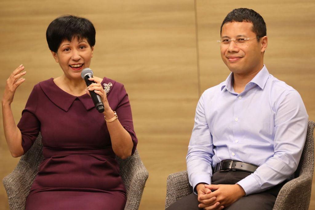 SINGAPURA BERSAMA: Cik Indranee Rajah (kiri) dan Encik Desmond Lee berkongsi inisiatif Singapura Bersama. - Foto BH oleh ONG WEE JIN