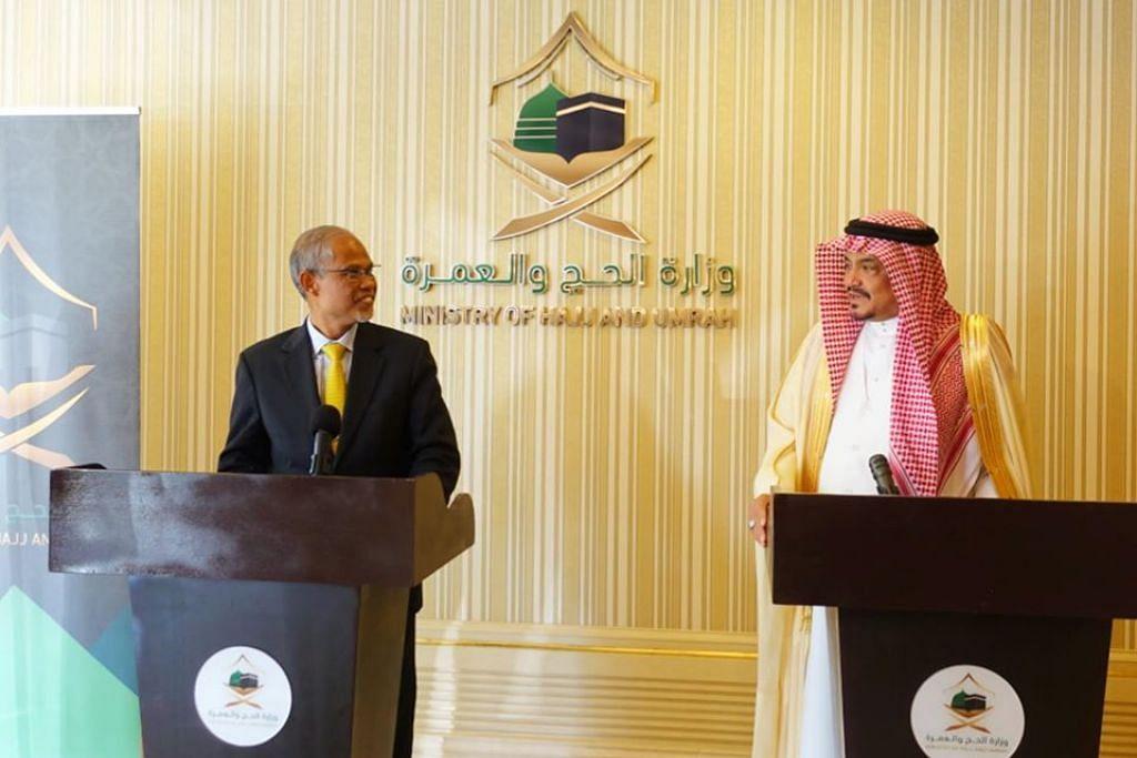 Encik Masagos Zulkifli Masagos Mohamad (kiri) bertemu Menteri Haji dan Umrah Arab Saudi, Dr Mohammad Saleh Bin Taher Benten. FOTO: FACEBOOK/ MASAGOS ZULKIFLI