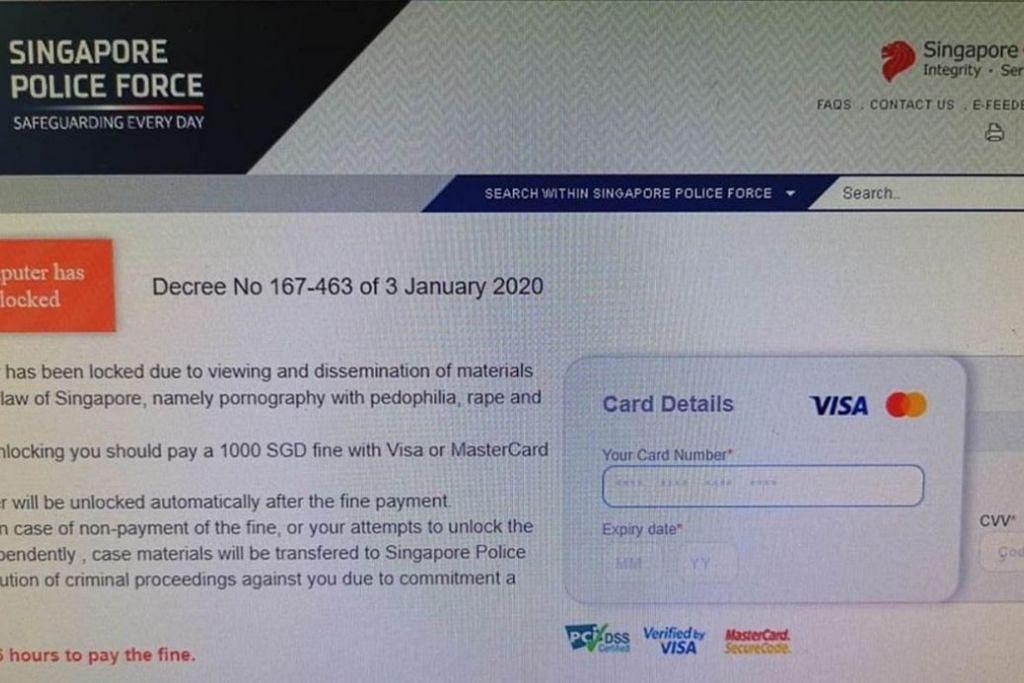 USAH DITIPU: Tangkap layar laman web palsu Pasukan Polis Singapura. -Foto PASUKAN POLIS SINGAPURA