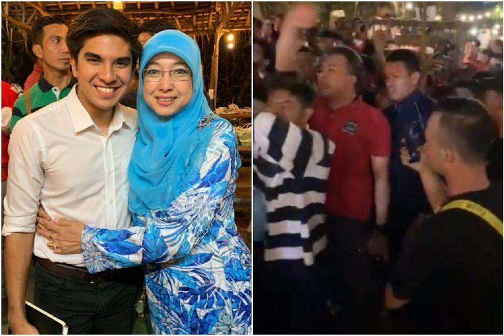 (dari kiri) Menteri Belia dan Sukan Malaysia, Syed Saddiq Syed Abdul Rahman bersama ibunya dalam majlis makan malam semalam, yang kemudiannya telah diganggu oleh sekumpulan lelaki.