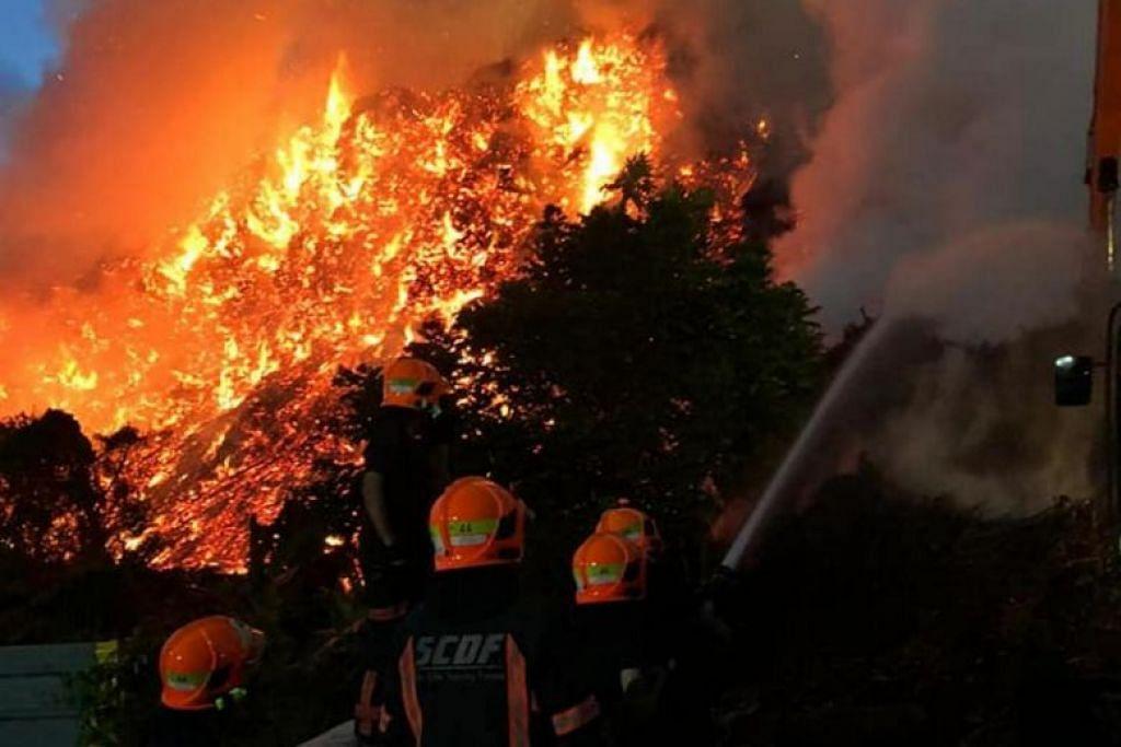 CUBA PADAM API: Kebakaran di 131 Lorong Semangka di Choa Chu Kang itu itu dipercayai berpunca daripada sisa kayu yang ditinggalkan sebuah syarikat.