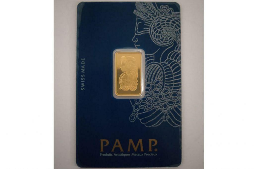 JONGKONG EMAS: Emas jenis PAMP seberat 5 gram ini yang boleh didapatkan di kedai seperti Mustafa Centre, menjadi pilihan antara pengguna. - Foto SUGYANTO SURYONO