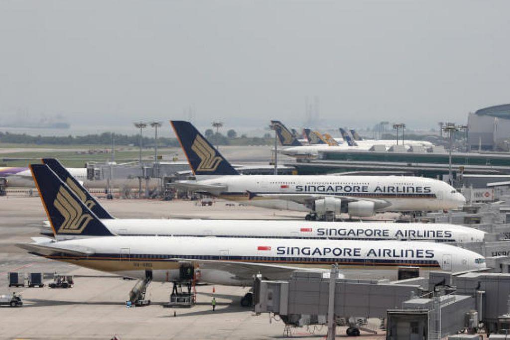 SIA telah membatalkan beberapa penerbangan antara Mac dan Mei tahun ini ekoran permintaan lemah dek koronavirus Covid-19. FOTO: ONG WEE JIN