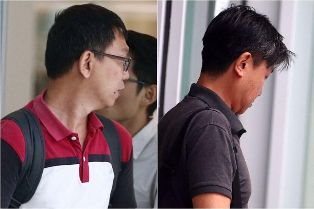 Kenny Lim Yong Chye dan Chong Ming Sang (kiri) mengaku bersalah di atas tuduhan rasuah melibatkan $11,500 pada Rabu dan masing-masing didenda $30,000.